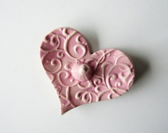 Light Pink Heart Shaped Ring Holder, Ring Dish, Ring Bowl, Light Pink, Ready to ship