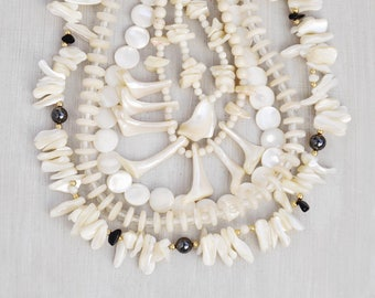 5 Vintage Beaded Necklaces - white mother of pearl shell disc nugget beads - wear or recycle