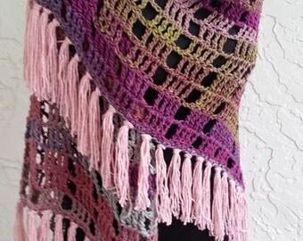 hand crochet shawl caplet womens accesory cape wrap boho shawl purple maroon mix  ~ stylish wrap ~  fantasy