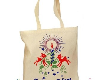 "Christmas Tote Bag - 1940 Christmas Gift Bag - Christmas Retro Bag - ""Christmas Tidings"" Gift Bag - Retro Gift Canvas Vintage Fabric 2 Sizes"