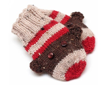 Sock Monkey Baby Mittens. Knit Infant Winter Mittens Without Thumbs. Unisex Hand Warmers. Boy or Girl Cordless Warm Wool Mittens. No String