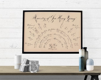Heirloom Hand Lettered-Calligraphy Family Tree, 16x20