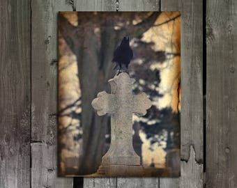 Gothic Crow Art Photograph Print, Raven Image, Blackbird On Cross, Aged Corvidae Image, Goth Wall Decor - The Gothic Wonderland Of Crow