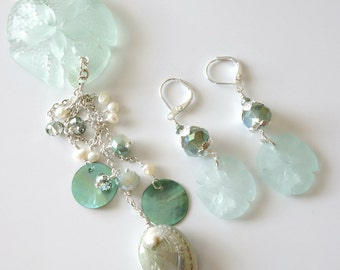 Sand Dollar Necklace, Sand Dollar Earrings, Two Piece Jewelry Set, Aqua, Beach Jewelry, Silver Chain Necklace, Shells, Crystals, Pearls