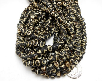 70 Brown & Natural White Bone Beads, Rondelle Beads (H2199)