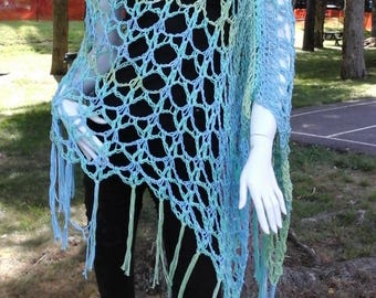 Long Boho Festival Poncho in Mermaid's Country