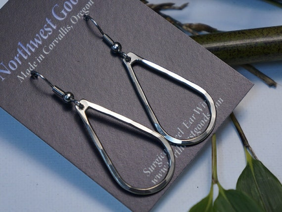 Nickel silver teardrop earrings