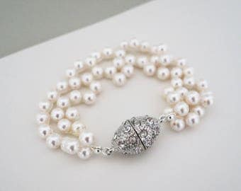 Pearl Wedding Bracelet Bridesmaid Jewelry Gift Pearl Crystal Bracelet Bridal Bracelet Bridesmaid Bracelet Swarovski Ivory Pearl Mother Wife