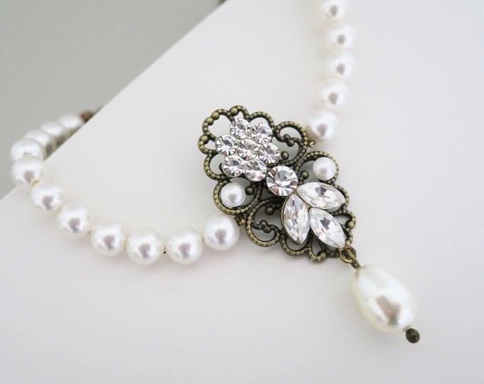 Crystal Leaf flower Drop Pearl Gatsby Bronze Bracelet