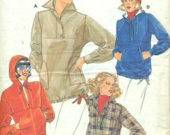 Butterick 5628 JANE TISE Pullover Tops, Hood Size 10 VINTAGE 70s