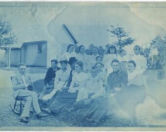 vintage photo 1900 Canton Ohio Large Cyanotype Church Group
