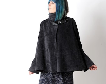 Black womens Cape, Black babycord hooded cape coat, pointy hood and flared sleeves, Black hooded cape, Fall fashion, size S, MALAM