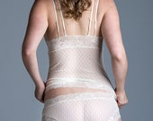Sheer Lingerie - Ivory Mesh Polkadot 'Lily of the Valley' Panty - See Through Custom Fit Lingerie - Limited Edition