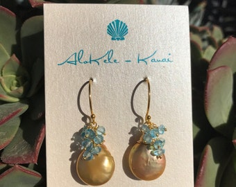 Lustrous Golden Freshwater Pearl Earrings with Sky Blue Topaz Rondelles in 24k Gold Vermeil