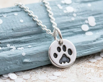 Paw Print Necklace, Paw Print Jewellery, Pawprint Silver Necklace, cat paw print necklace, Dog paw print necklace, pawprint necklace