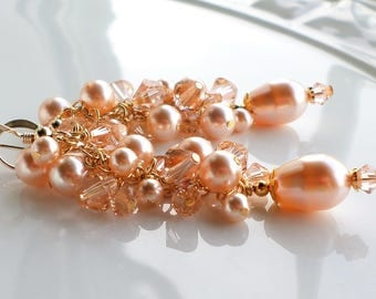 Peach Swarovski Crystal Pearl Cluster Earrings, Peach Pearl Earrings, Light Peach Crystal Pearl Statement Earrings, Peach Wedding Earrings