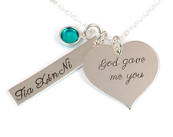 Adoption Necklace - God Gave Me You - Personalized Necklace - Sterling Silver Adoption Jewelry - Adoption Gift