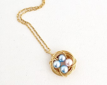 Mother's Day Gift - Gift for New Mom - Blue and PInk Eggs - Grandmother Gift - Bird Nest Necklace - Pearl Eggs - Gift For Her (BNN001)