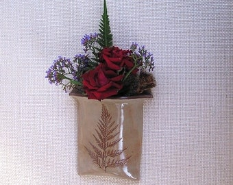 ceramic fern wall pocket vase, handmade pottery, ferns, kiln fired pottery