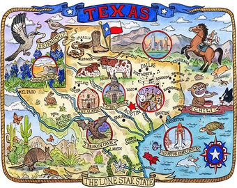"Texas State Map 11""x 14"" Art Print"