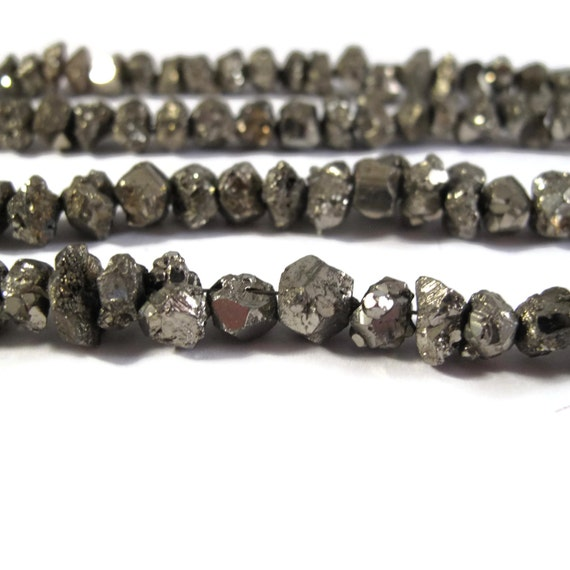 Pyrite Nugget Beads, 4 Inch Strand, 6mm-8mm Natural Gemstones for Making Jewelry, About 22 Rough Natural Pyrite Beads (S-Py2b)