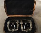 Exceptional Georgian, Victorian Paste, Rhinestone Diamante Shoe Clips, Buckles, in Original Box,19th Century, 1800s