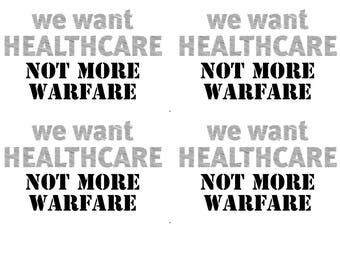 instant download postcard we want healthcare not more warfare resist postcard