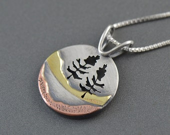 Handmade Two Hearted River Sterling Silver, Copper, Brass Mixed Metal Pendant