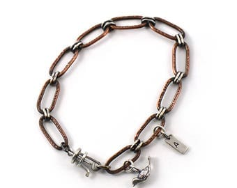 Handmade Textured Oval Link Mixed Metal Sterling Silver, Copper Bracelet