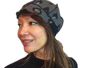 Upcycled Hat - Grays leopard print - womens, knit, newsboy cap, upcycled, eco-friendly