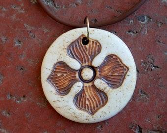 Rustic Single Flower Porcelain Pendant