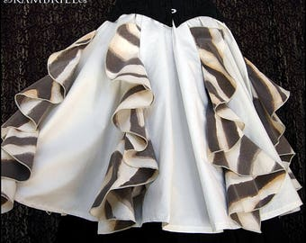 Whimsical Ivory Waterfall Skirt by Kambriel - Very Full - Made with Soft Vintage Cotton - Brand New & Ready to Ship!