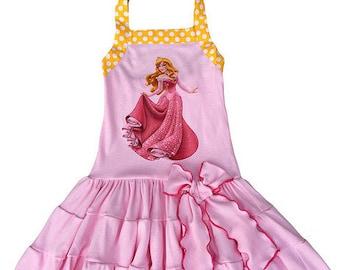 Princess Sleeping Beauty Comfy Knit Tiered Summer Halter Twirl Dress, Aurora Sleeping Beauty Pink Knit Twirl Dress
