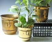 Set of 3 vintage brass plant containers - brass planter