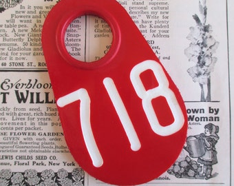 Vintage Red Doublesided Cow Tag #718
