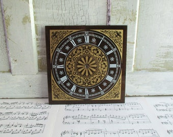 Vintage Gold and Black Ornate Roman Numeral Clock Face