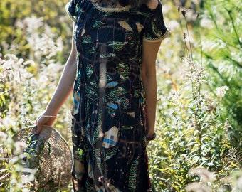 Custom Ancestor Dress #6 - Long Dress Size Small, Organic linen/silk, vintage sari silk, fine art women's dress by Dawn Patel Art fiber art
