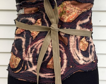 Ancestry Cloth Obi Belt #27 - Extra Large, Wide - One of a Kind Wearable Fine Accessories, bohemian gypsy chic wear, unique belt, nomad wear