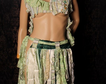 Green fairy Skirt, long tattered hip scarf, Tribal Belly Dance, wasteland shreded Witchy shawl, steampunk costume, apocalypse, hippie skirt,