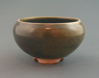 Incense Censer, wood-fired stoneware w/ tenmoku and natural ash glazes
