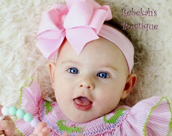 pink baby headband, double stacked bows, boutique hair bows, infant headbands, hair bows for girls, Easter hair bows, large hair bows, girl