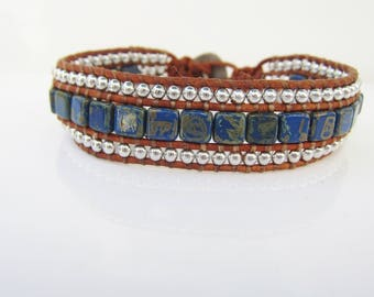 "Triple Row Brown Leather Cord and Denim and Silver beaded Wrap  Bracelet -- size 7"" - 8"""