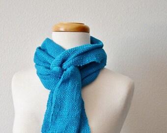 Bright Blue Cotton Summer Scarf in Aquamarine Blue - Textured, Handmade, Handwoven. All Seasons, Vegan, Fringed, Boho Scarf. Sale!