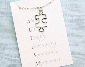 Autism Awareness  | Puzzle Necklace, Autism Awareness, Autism Mom, Asperger Syndrome, Autism Teacher Gift, Puzzle, Special Needs Mom | A04