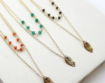SAMPLE SALE | Gemstone Multi Strand Layering Necklace in Gold with Leaf