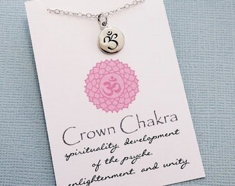 Crown Chakra Sanskrit Necklace | Yoga Jewelry | Chakra Charm Pendant | Meditation Jewelry | Quote Card | Sterling Silver