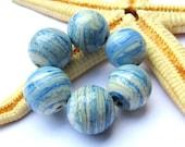SMAUGGS handmade beadset (6pcs., 12mm), glass, light jeansblue, hole 2mm