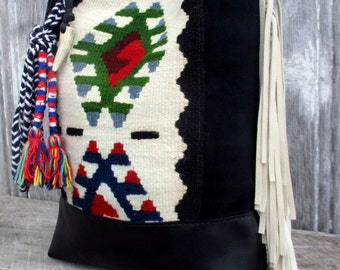 Romanian Traditional Textile Mona Bag with Black Leather and White Deerskin Fringe Bag by Stacy Leigh