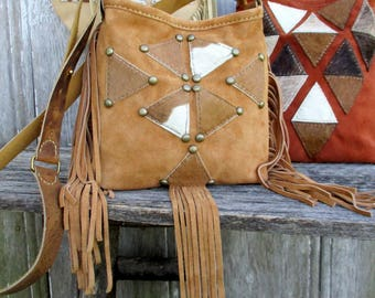 Suede Leather Bag in Geometric Triangle Camel Color Leather Small Cross Body Bag -  Calfskin - Hair On Cowhide Purse - Honey by Stacy Leigh