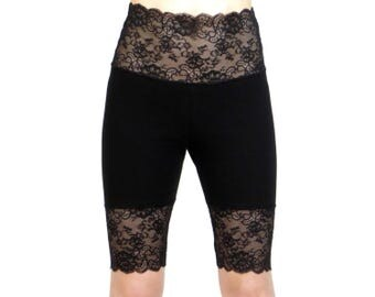 Knee Length Wide Waistband New Black Stretch Lace Shorts XS S M L XL 2XL 3XL high-waisted plus size goth bike shorts Short High Waist cotton
